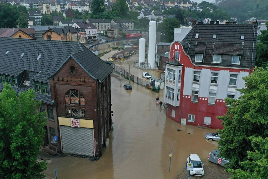 The flooded centre of the city of Hagen, western Germany, on July 14, 2021.