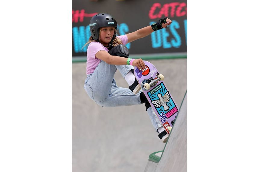 Britain's Sky Brown (top), 12, and Germany's Lilly Stoephasius (above), 14, are set to become their respective countries' youngest summer Olympians.