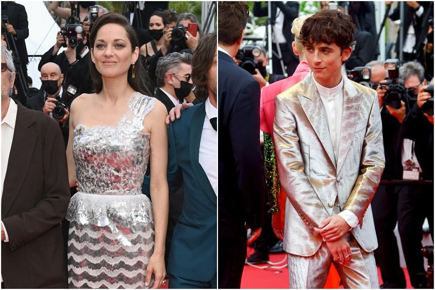 Marion Cotillard (left; in Chanel gown) and Timothee Chalamet at the 74th edition of the Cannes Film Festival.