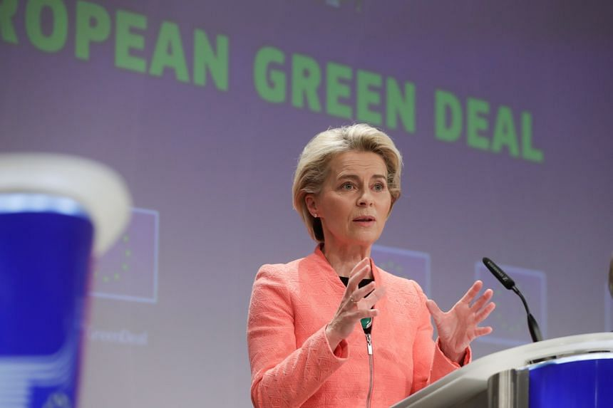 Ms Ursula von der Leyen speaks during a press conference on delivering the European Green Deal at the European Commission in Brussels, on July 14, 2021.