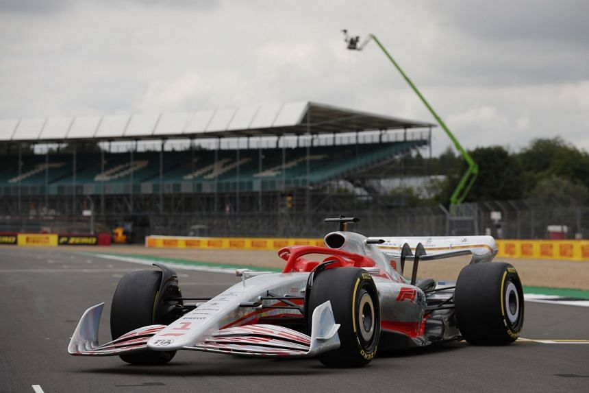 The new 2022 F1 car is unveiled during a promotional photoshoot at Silverstone, ahead of the British grand prix.