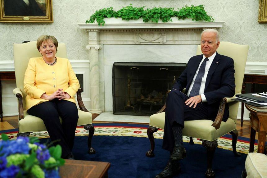 US President Joe Biden holds a bilateral meeting with German Chancellor Angela Merkel at the White House in Washington.