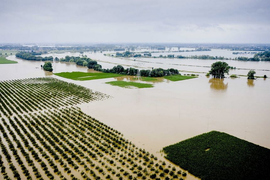 This image taken by a drone shows sustantial flooding near the Limburg hamlet of Aasterberg, Netherlands, on July 16, 2021.