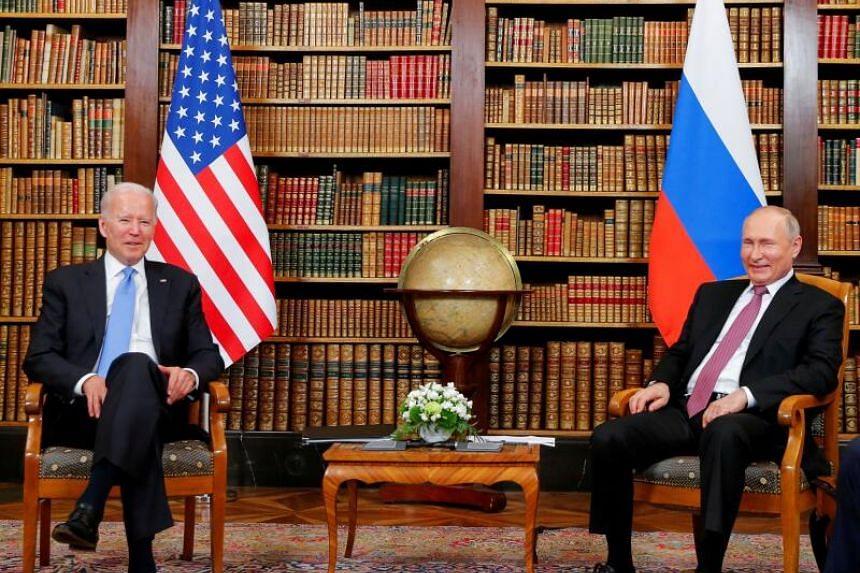 US President Joe Biden and Russia's President Vladimir Putin meet for the US-Russia summit at Villa La Grange in Geneva, Switzerland on June 16, 2021.