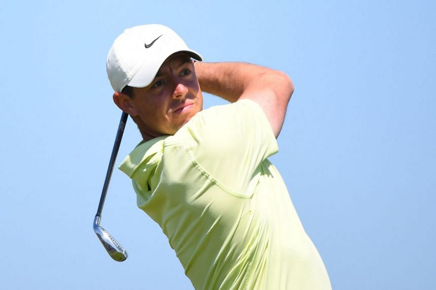 McIlroy tees off on the 17th during his second round on day 2 of The 149th British Open.