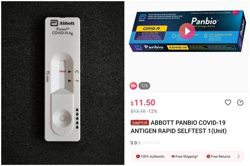 Lazada offers the Abbott Panbio Covid-19 antigen self-test kit and Quidel (QuickVue) kit on its platform.
