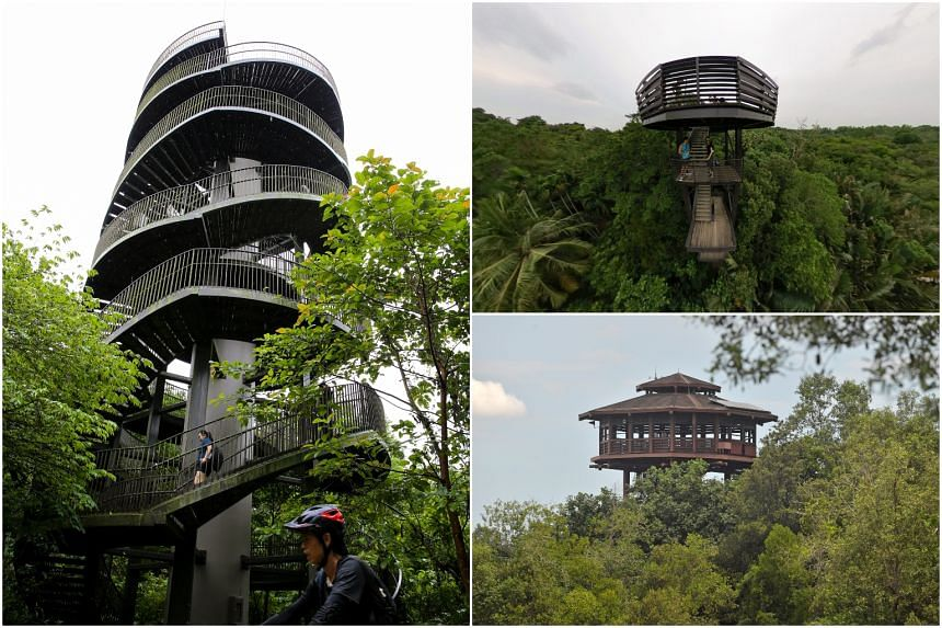 (Clockwise from left) The Observation Tower at Chestnut Nature Park, Jejawi Tower at Chek Jawa and the Areia Tower at Sungei Buloh wetlands reserve.