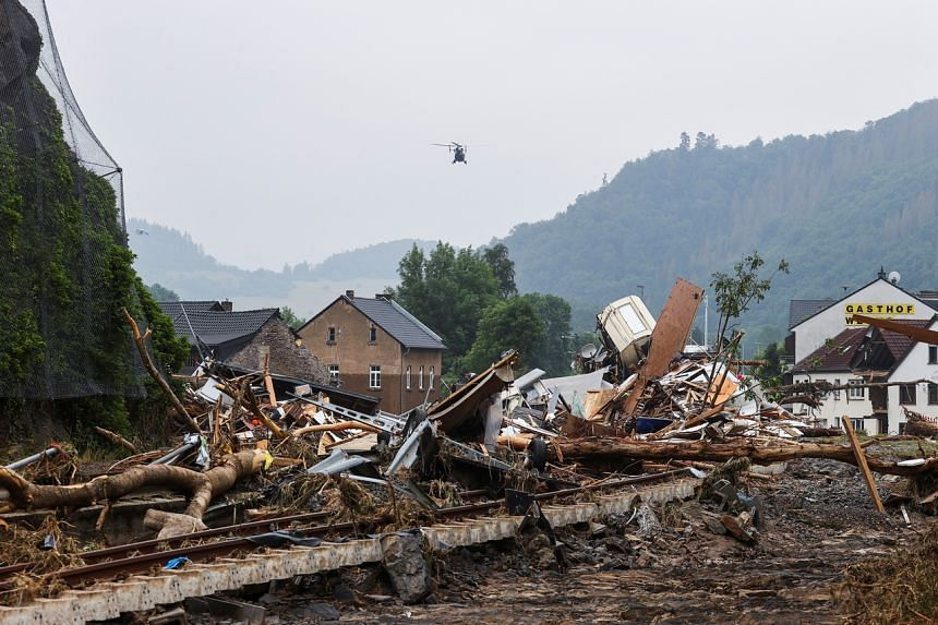 Debris of crumbled houses seen after heavy rainfall in Kreuzberg, Germany, on July 17, 2021.
