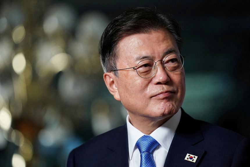 A senior Japanese diplomat had reportedly ridiculed South Korean President Moon Jae-in's (pictured) desire to meet with Japanese Prime Minister Yoshihide Suga.