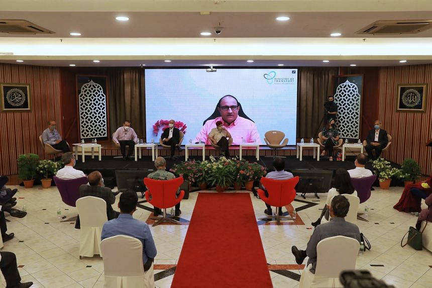 Transport Minister S. Iswaran (on screen) giving his officiating address virtually for an Inter-Racial Harmony Seminar at Jamiyah Singapore on July 17, 2021.