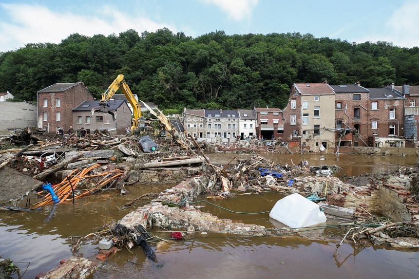 A view of the debris at an area affected by floods, following heavy rainfalls, in Pepinster, Belgium, on July 17, 2021.