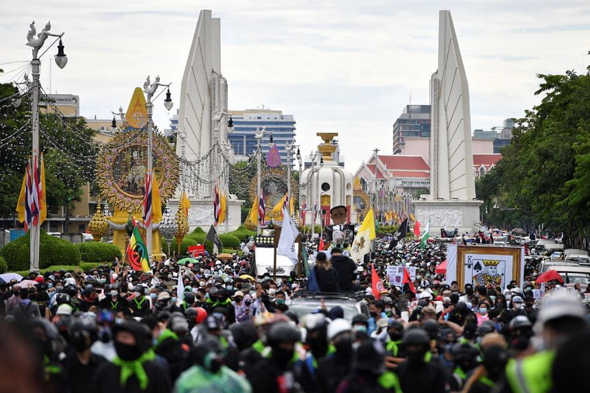 Anti-government protesters marching towards Government House in Bangkok on July 18, 2021.