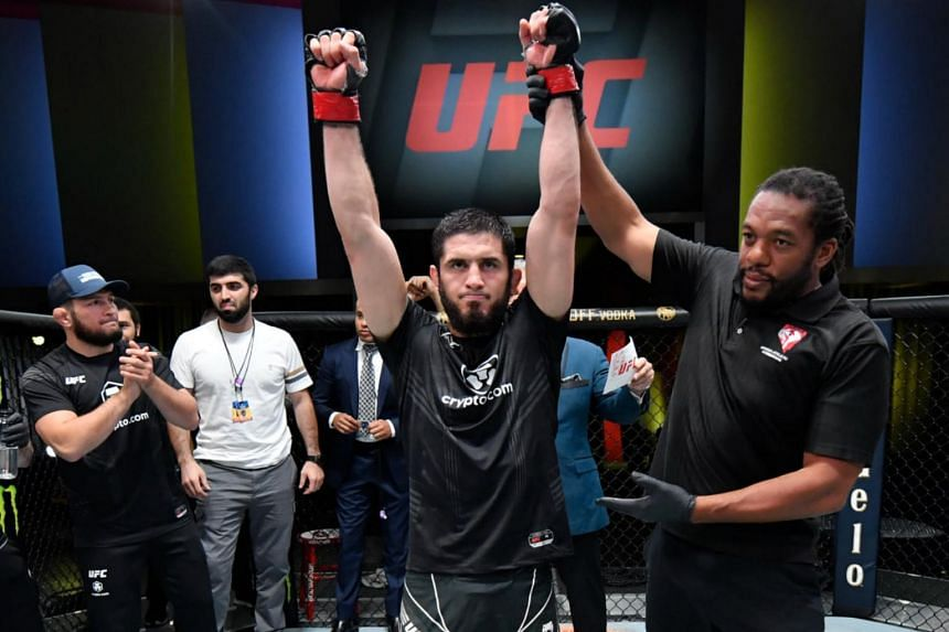 Islam Makhachev won by submission in round 4 of the main event at UFC Fight Night.