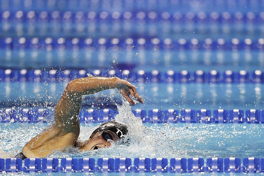 The contests in Tokyo between American Katie Ledecky (left), 24, and Australian Ariarne Titmus, 20, seen here in their teams' respective 800m freestyle Olympic qualifiers, will be one of the Games' highlights.