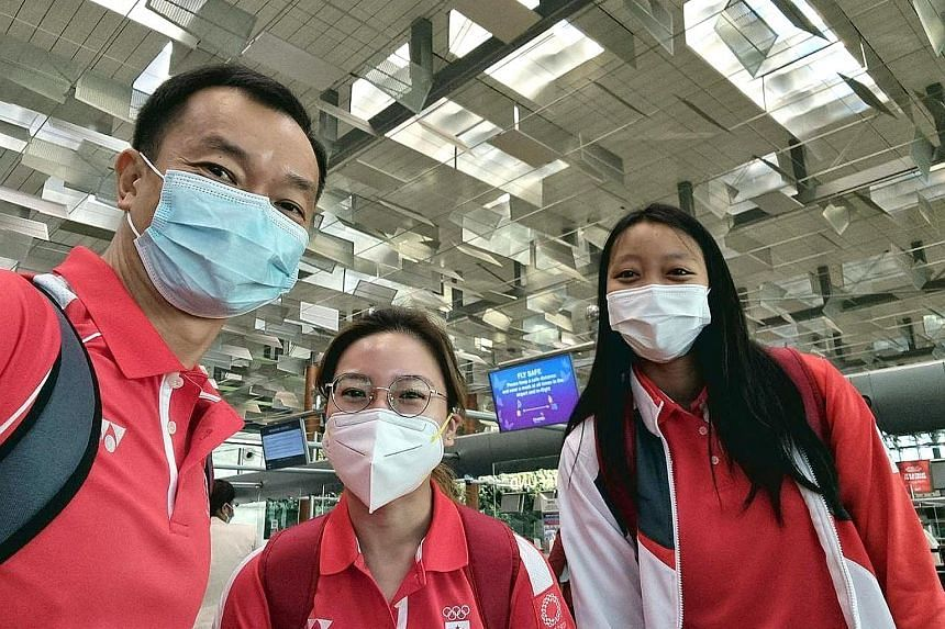 All excited for the Tokyo Games are Singapore's chef de mission Benedict Tan, shooter Adele Tan and fencer Kiria Tikanah Abdul Rahman.