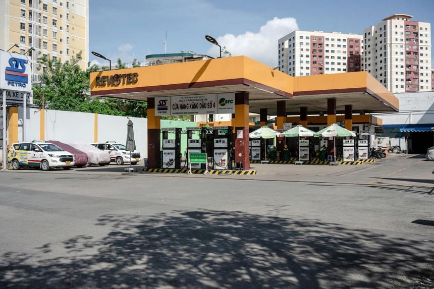 A rare scene in Covid-19 stricken Ho Chi Minh City. This gas station located in the central district of Binh Thanh is left empty, reflecting the quiet streets of the city.