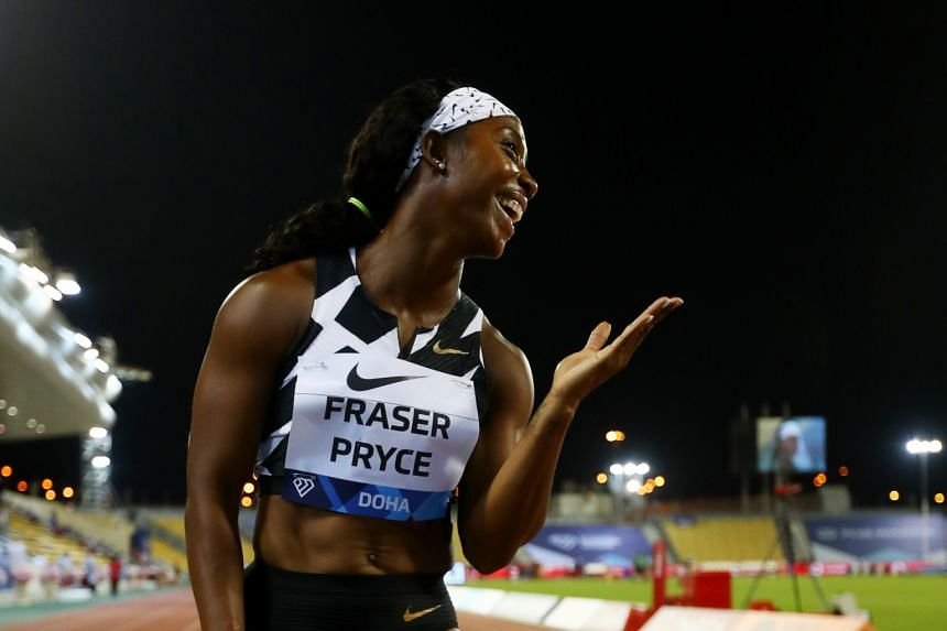 Shelly-Ann Fraser-Pryce of Jamaica blowing kisses after winning the 100m in 10.84 seconds at the Doha Diamond League meeting in May. She is a strong favourite to clinch a hat-trick of Olympic century sprint golds and given her form, a 100m-200m doubl