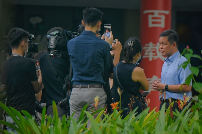 Education Minister Chan Chun Sing speaking to media at River Valley High School on July 19, 2021.