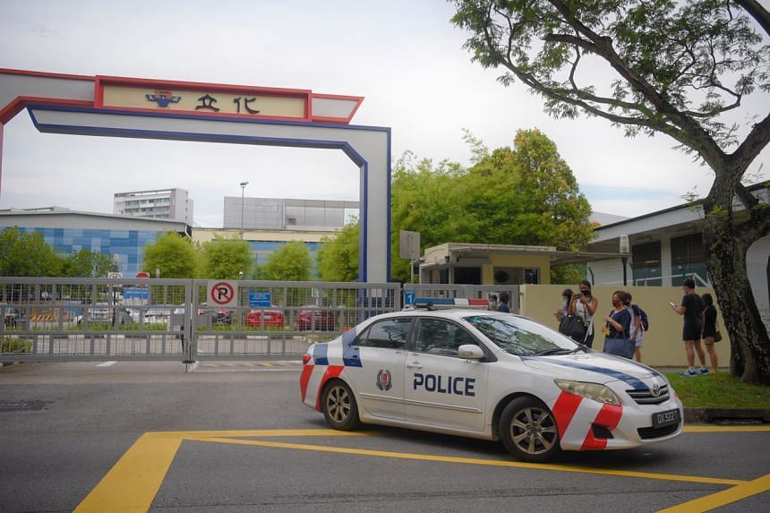 A police car is seen at River Valley High School on July 19, 2021.