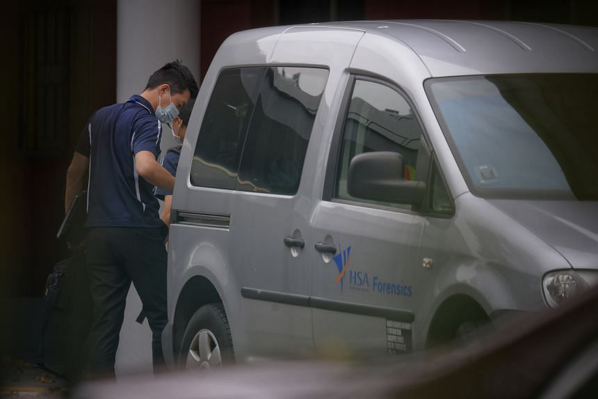 A Health Sciences Authority van arrives at River Valley High School on July 19, 2021.