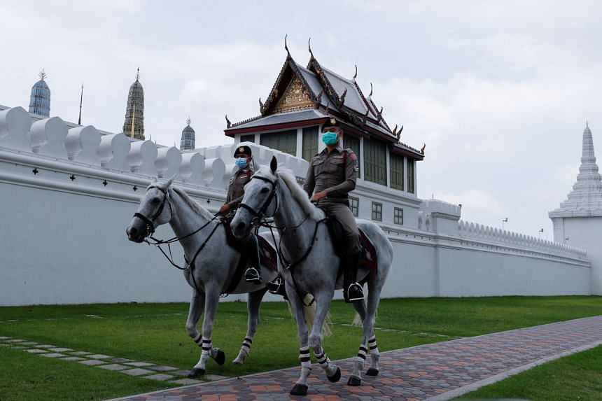 Thai police on patrol outside the Grand Palace in Bangkok in April.