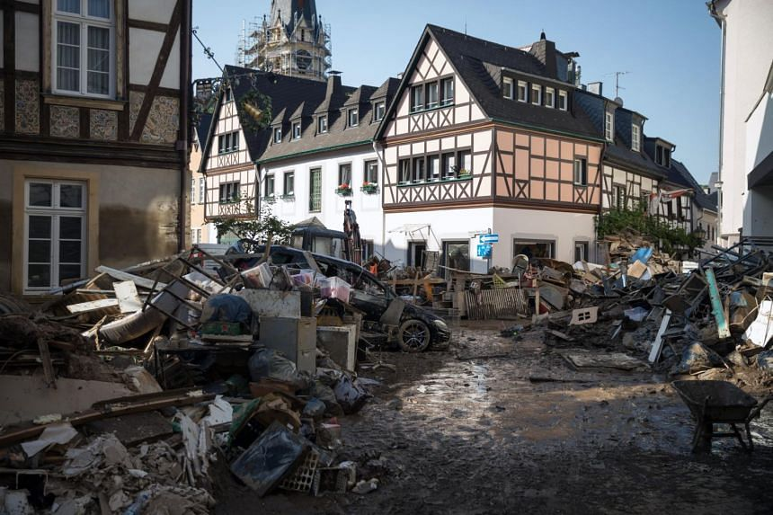 Wreckage after floods in central Bad Neuenahr-Ahrweiler, Germany, on July 18, 2021.