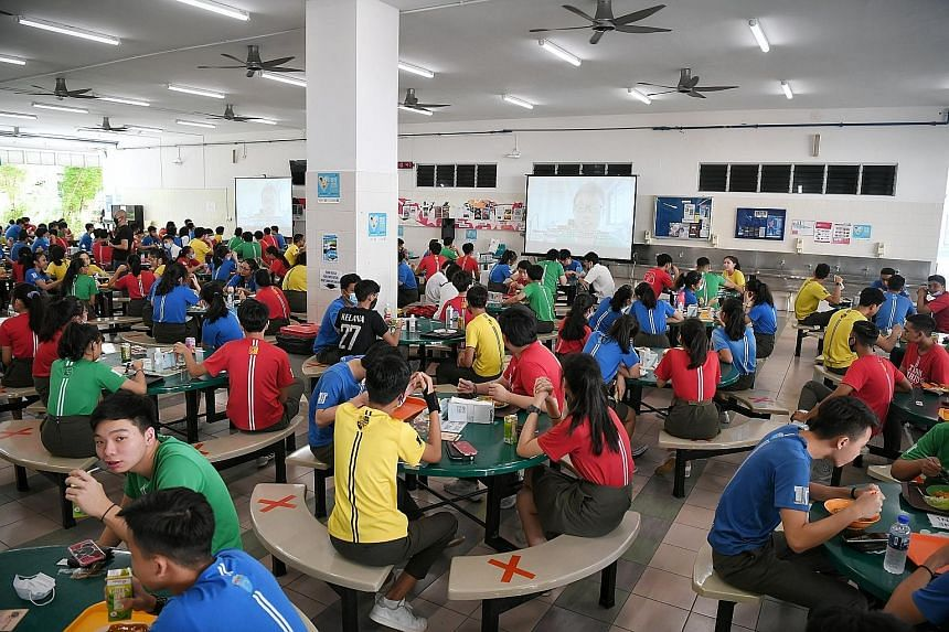 Tampines Secondary School students watching videos to mark Racial Harmony Day last year. One important takeaway from various studies is that multicultural education must be introduced in pre-schools and reinforced throughout primary, secondary and ev