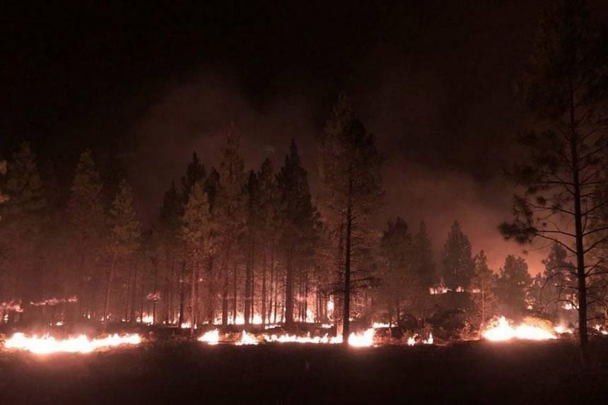 The Bootleg Fire burning at night, in southern Oregon, USA, on July 17, 2021.