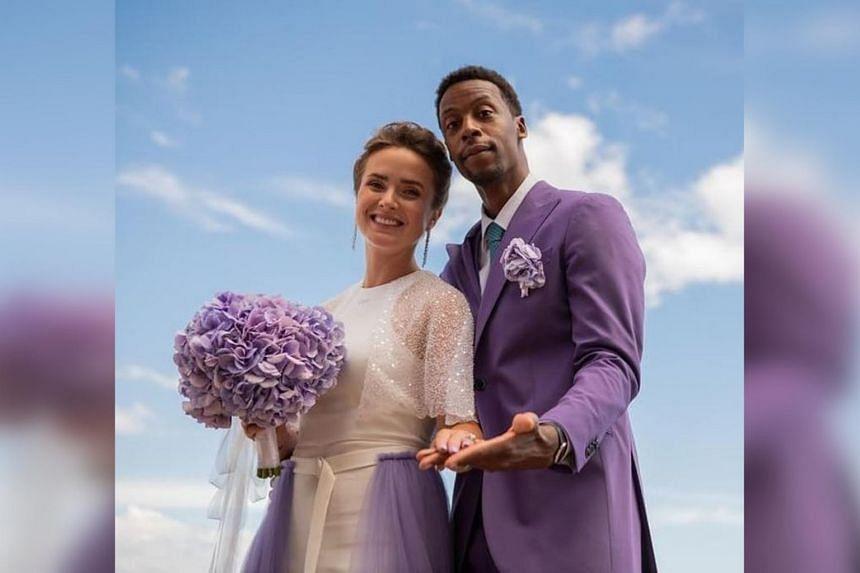 Elina Svitolina (left) and Gael Monfils got married on July 16, 2021.