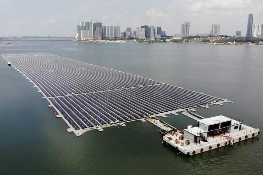 Sunseap's floating solar farm in the Strait of Johor, off Woodlands.