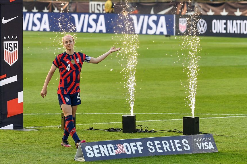 Defender Becky Sauerbrunn in high spirits after the United States thrashed Mexico 4-0 in their final warm-up game on July 5 in East Hartford, Connecticut. The team will open their Tokyo campaign on the back of a 44-match unbeaten streak, their second