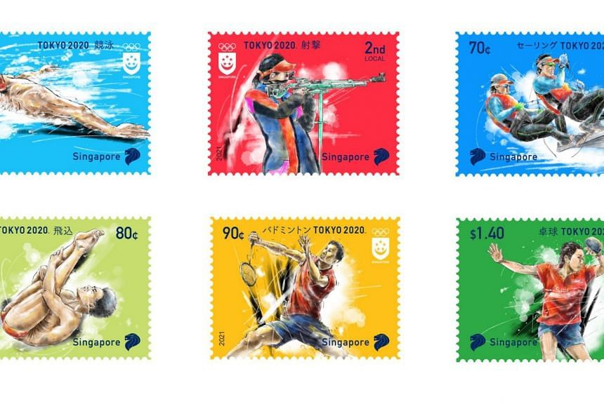 The stamps feature some of the sports that Singapore athletes will be participating in for the upcoming Olympic Games.