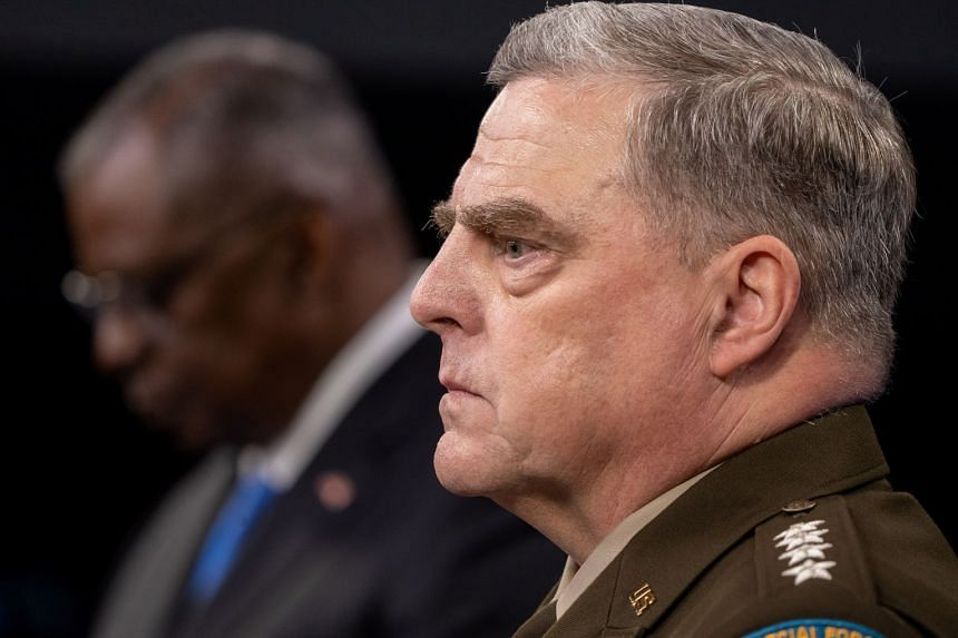 General Mark Milley (right) snd US Defence Secretary Lloyd Austin (left) brief reporters at the Pentagon on July 21, 2021.