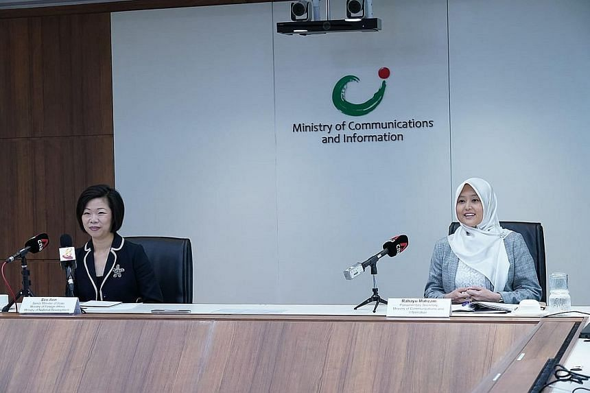 Senior Minister of State for Foreign Affairs and National Development Sim Ann and Parliamentary Secretary for Communications and Information Rahayu Mahzam at yesterday's launch of the Singapore Together Alliance for Action (AfA) to tackle online harm