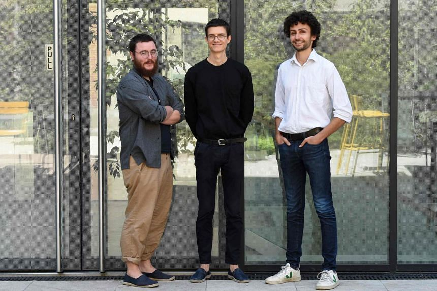 (From left) Gourmey co-founders Victor Sayous, Nicolas Morin-Forest and Antoine Davydoff in Paris on July 19, 2021.