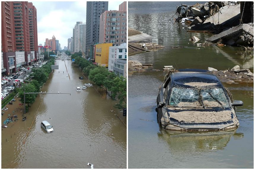Recent floods killed more than 30 people in Henan (left) and over 200 in Germany (right) and Belgium.