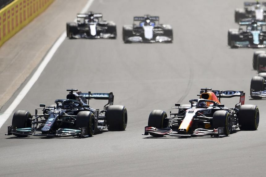 Mercedes' Lewis Hamilton (left) was issued a penalty for causing an opening lap collision with rival Max Verstappen (right).