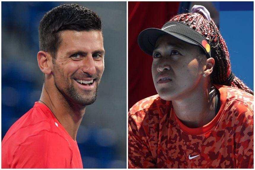 Novak Djokovic (left) and Naomi Osaka training at Ariake Tennis Park in Tokyo.