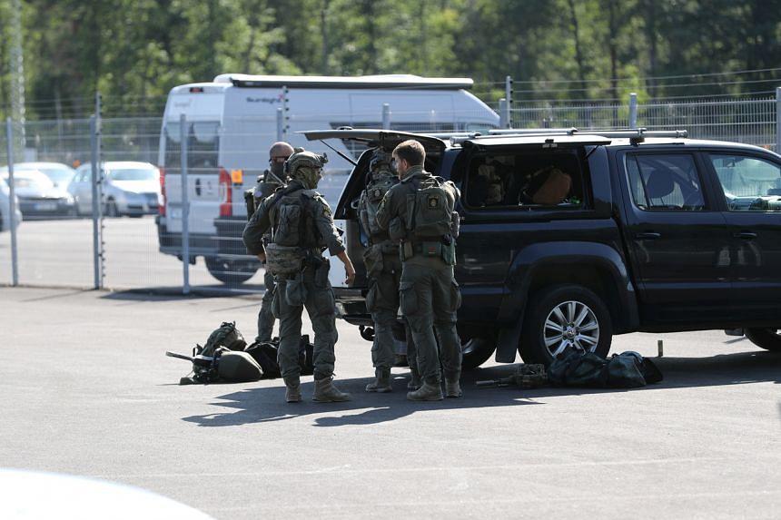 Police officers at Hallby Prison, outside Eskilstuna, Sweden, on July 21, 2021.