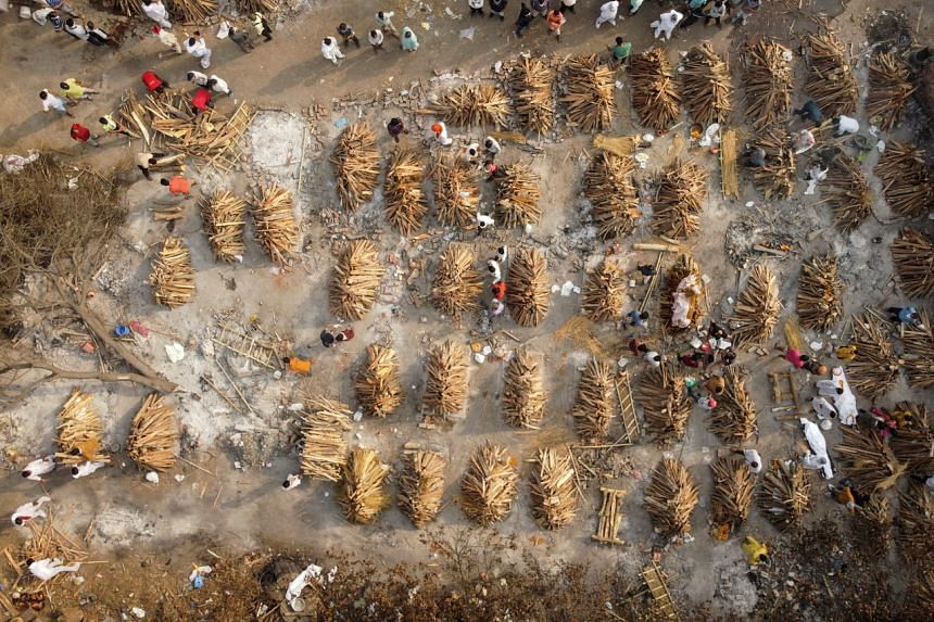 The grounds are prepared for mass cremation of coronavirus victims in New Delhi, India, on April 28, 2021.