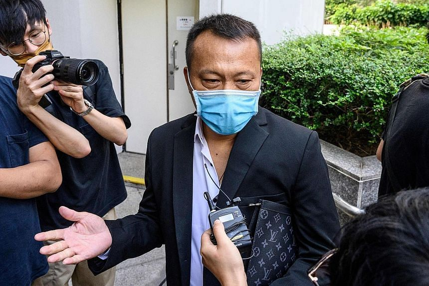 Defendant Ng Wai Nam, one of the men accused of attacking pro-democracy protesters in Yuen Long in 2019, outside the District Court in Hong Kong on June 18. PHOTO: AGENCE FRANCE-PRESSE