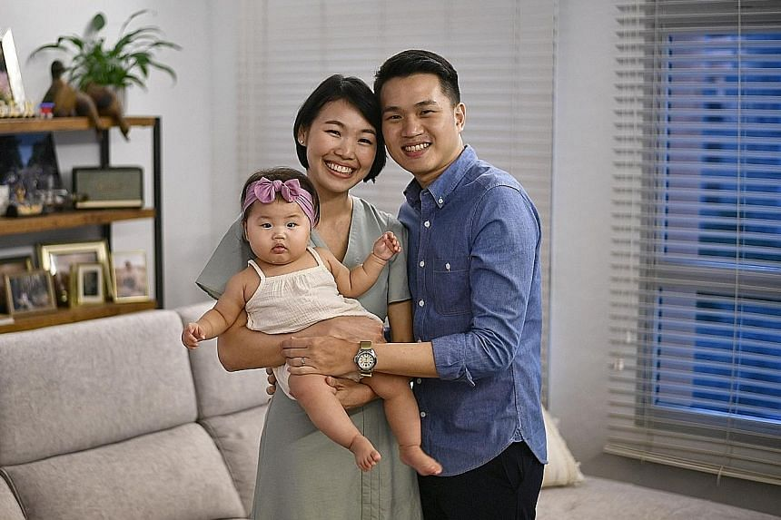 For public relations manager Amanda Moey and lawyer Joel Tan, the pandemic did not derail their desire to have more children. They welcomed their baby girl Lauren in November last year and plan to have more children. ST PHOTO: ARIFFIN JAMAR