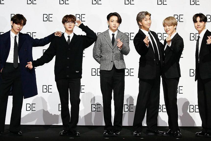 Members of South Korean boy band BTS (from left) V, Jin, Jungkook, RM, Jimin and J-Hope.