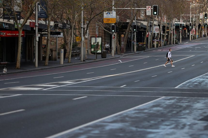 A virtually empty street during a lockdown in Sydney on July 22, 2021.