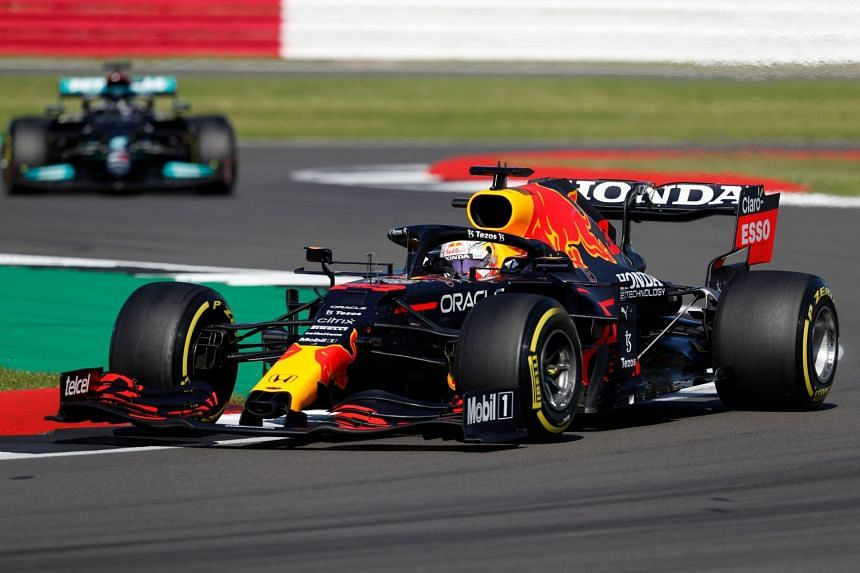 Red Bull's Max Verstappen drives during the sprint session of the British Grand Prix at Silverstone on July 17, 2021.