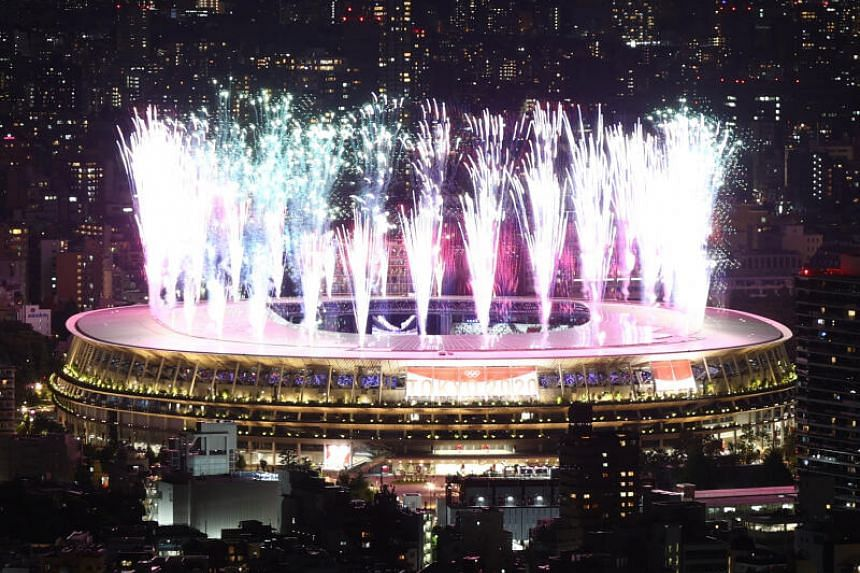Fireworks seen during the opening ceremony at the Olympic Stadium.