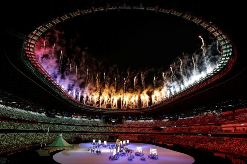 Performers seen inside the stadium during the opening ceremony.