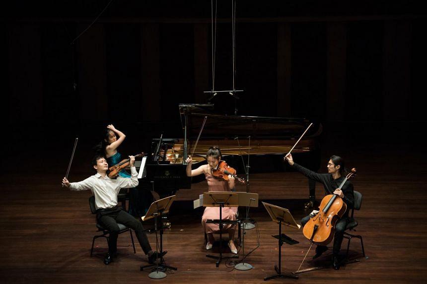 (From left), violinist Loh Jun Hong, pianist Abigail Sin, violist Dandan Wang and cellist Ng Pei-Sian playing the Brahms Piano Quartet No.3 at More Than Music, More Than Love.
