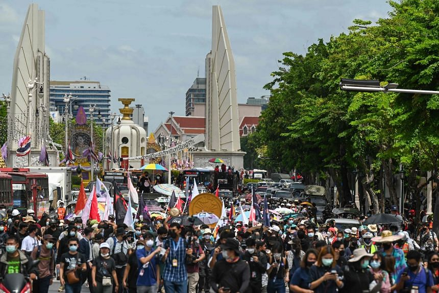 Pro-democracy protesters marching in Bangkok on June 24, to commemorate the anniversary of the 1932 Siamese revolution.