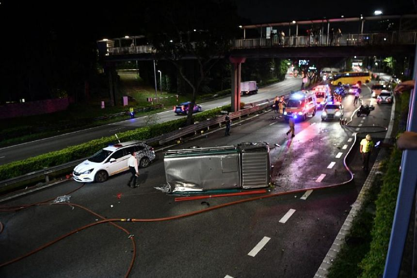 A lorry overturned in an accident on CTE, on July 23, 2021.